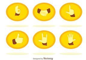 Conjunto de ícones de mãos planas