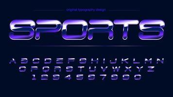 alfabeto artístico de esportes de cromo brilhante roxo