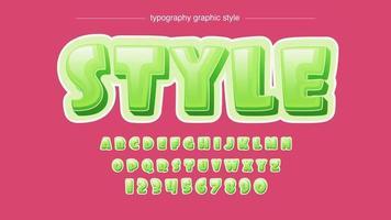 alfabeto de desenhos animados arredondados bolha verde brilhante vetor