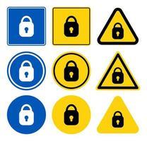 conjunto de sinal de ícone de cadeado vetor