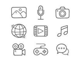 Doodle conjunto de ícones multimídia vetor