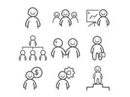 Doodle conjunto de ícones de pessoas de negócios vetor