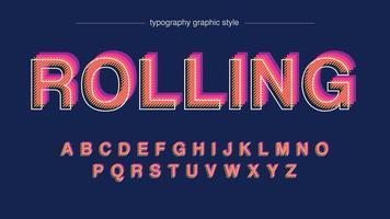rosa e laranja offset listras padrão maiúsculas alfabeto vetor