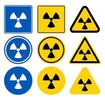 conjunto de sinal de aviso de radiação vetor