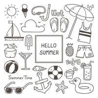 conjunto de elementos de doodle mão desenhada verão vetor