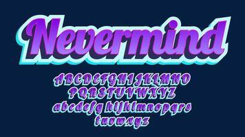 alfabeto de caligrafia vintage roxo 3d em negrito vetor