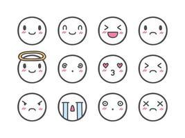 Doodle conjunto de ícones de emoticons vetor