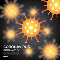 cartaz de infecção de coronavírus laranja e preto vetor