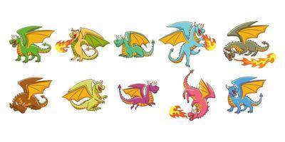 conjunto de desenhos animados do dragão vetor