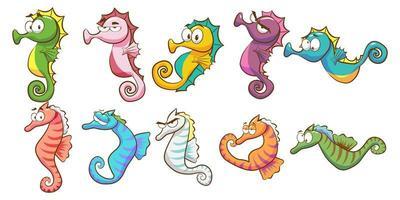 conjunto de cavalos-marinhos dos desenhos animados vetor