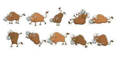 conjunto de touro dos desenhos animados vetor