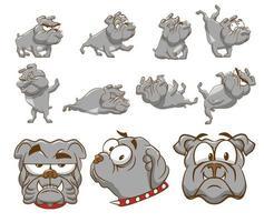 conjunto de bulldog dos desenhos animados vetor