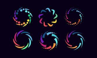 coleção de logotipos abstratos arco-íris circular vetor