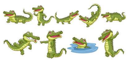 conjunto de desenhos animados de crocodilo vetor