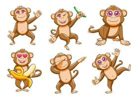 conjunto de desenhos animados de macaco bobo vetor