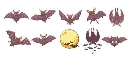 conjunto de morcego dos desenhos animados vetor