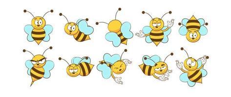 conjunto de desenhos animados de abelha vetor