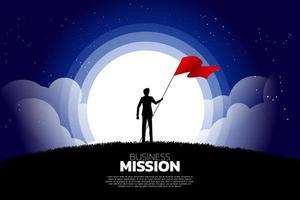 silhueta do homem de negócios à noite com bandeira em pé vetor