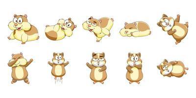 conjunto de hamster dos desenhos animados vetor