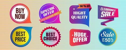 conjunto de distintivo de venda de design brilhante vetor