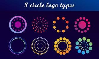 conjunto de logotipos de ponto circular brilhante vetor