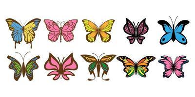 conjunto colorido lindo borboleta vetor