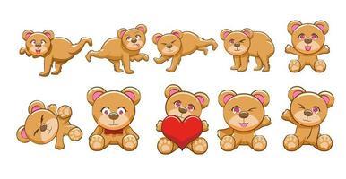conjunto de ursinho dos desenhos animados vetor