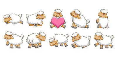 conjunto de ovelhas dos desenhos animados vetor