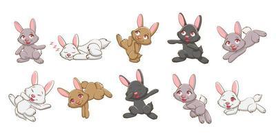 conjunto de coelho bonito dos desenhos animados vetor