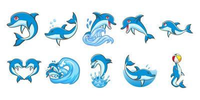 conjunto de desenhos animados de golfinho vetor