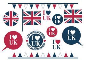 Eu amo o conjunto de elementos variados do Reino Unido