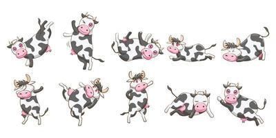conjunto de vaca boba dos desenhos animados vetor