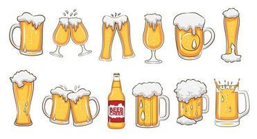 conjunto de canecas e copos de cerveja vetor