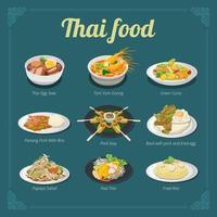 design do menu de comida tailandesa vetor