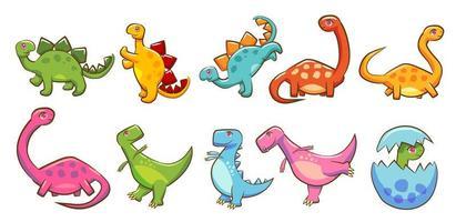 conjunto de dinossauro colorido dos desenhos animados vetor