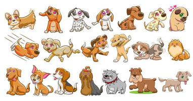 conjunto de desenhos animados de cachorro vetor