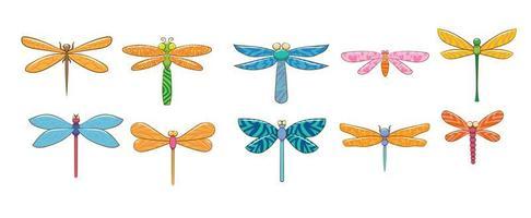 conjunto de libélula dos desenhos animados
