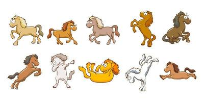 conjunto de desenhos animados de cavalo vetor