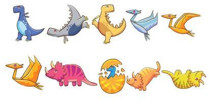 conjunto de dinossauros coloridos dos desenhos animados vetor