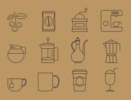 Ícones de café de linha fina vetor