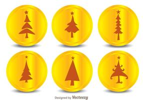 Ícones da silhueta da árvore de natal vetor