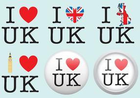 I Love UK Badge Vectors