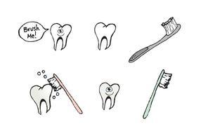 Série de vetores de dentes de escovação livre