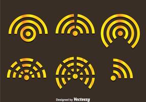 Vetores do wifi logo do ouro