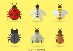 Ícones de vetores de insetos planos