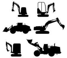 conjunto de ícones de escavadeira vetor
