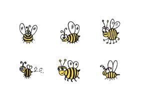 Série de vetores de abelha fofa grátis