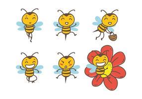 Vetores bonitos da abelha desenhados mão