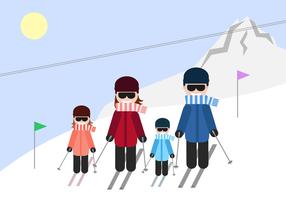 Vector de esqui familiar gratuito
