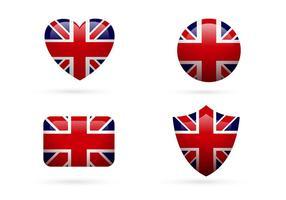 Vetores do conjunto de ícones da bandeira do Reino Unido
